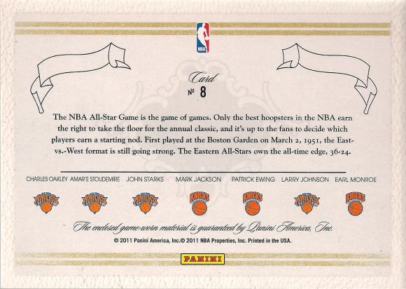 Panini Preferred 2011-12 All Star Knicks back